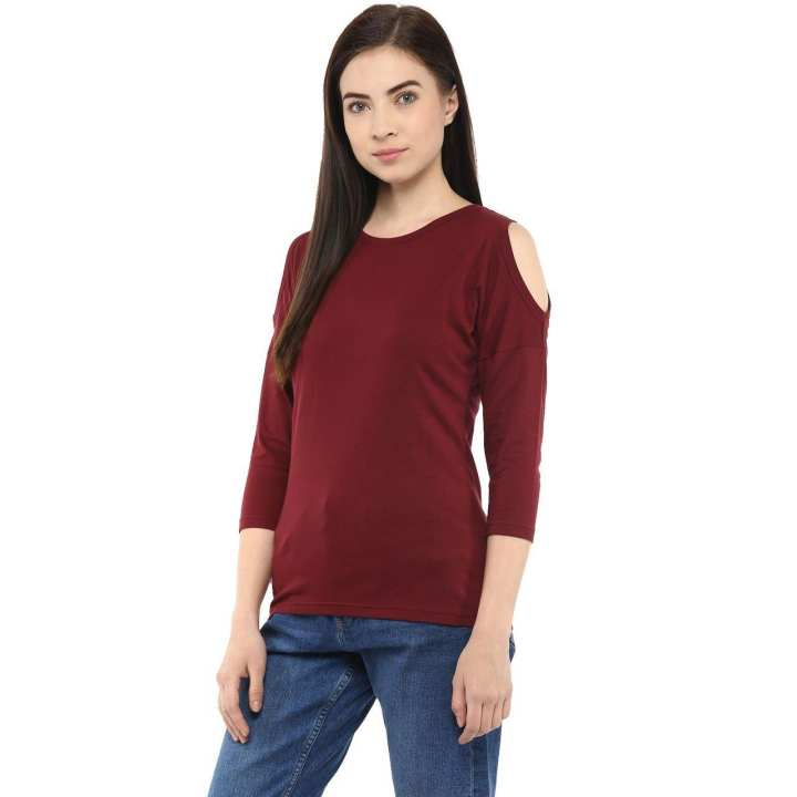 AL FAJAR Maroon Cold Shoulder Round neck 3/4 Sleeves Export Quality T-Shirt For Women