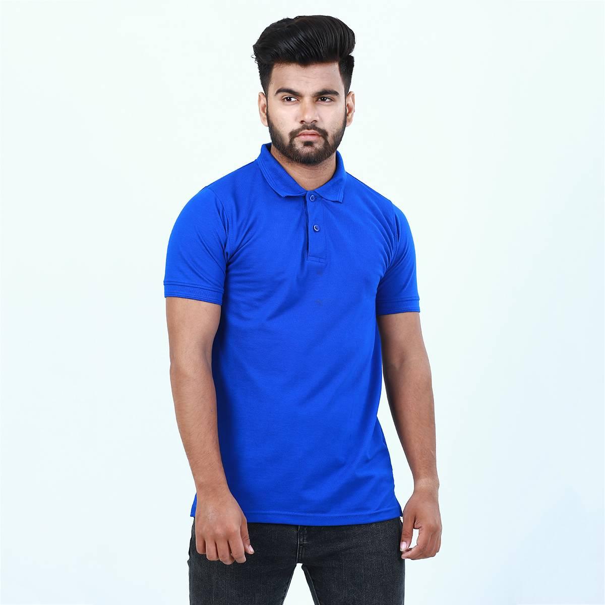 Anace Royal Blue 100% Cotton Polo Shirt for Men's