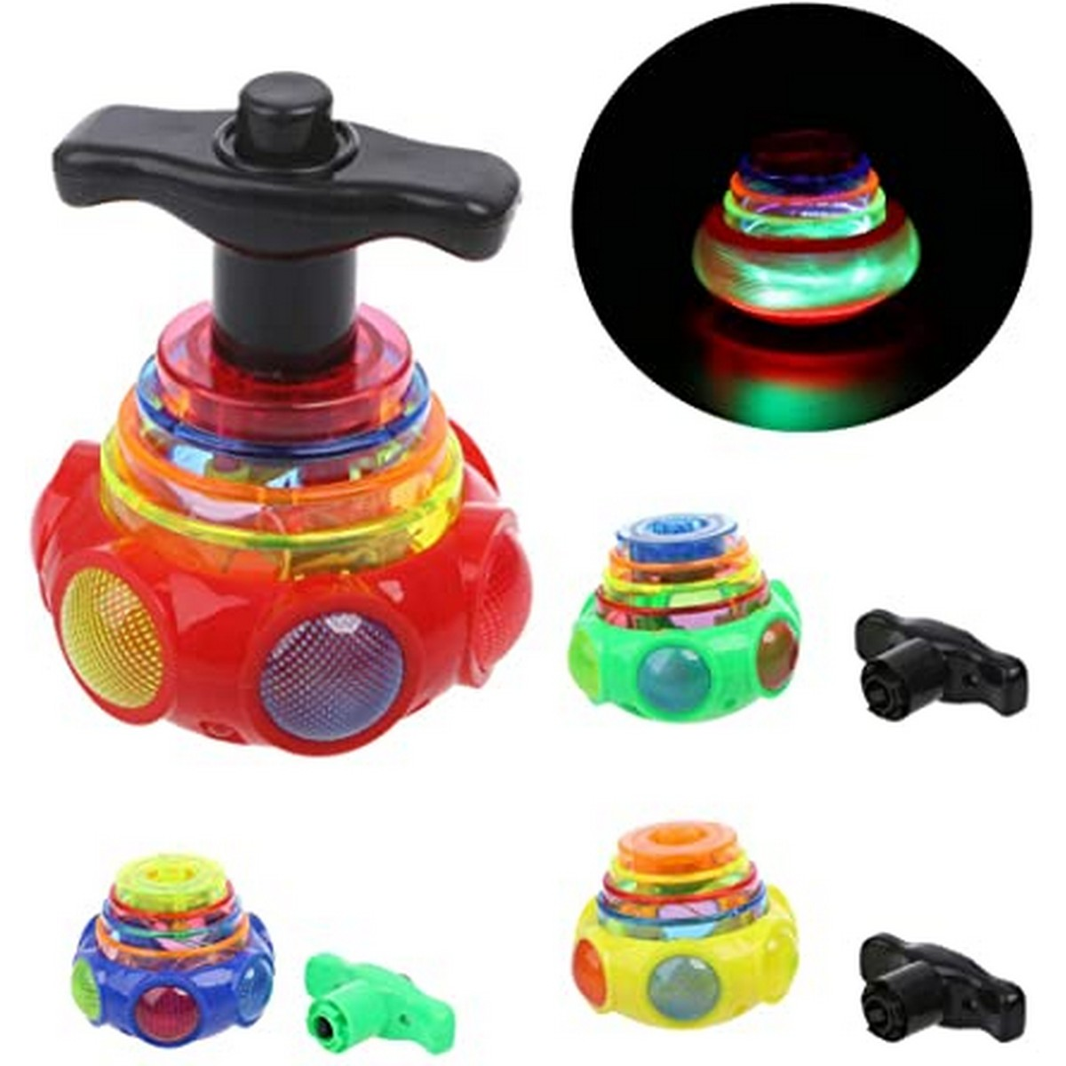 1 Flashing UFO Spinning Top Set with Light and Music For kids