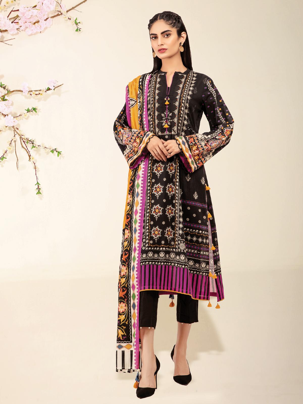 edenrobe Women Un-Stitched Summer Nayab Collection -EWU21V2-20421 - Black - 3 Piece  Suit