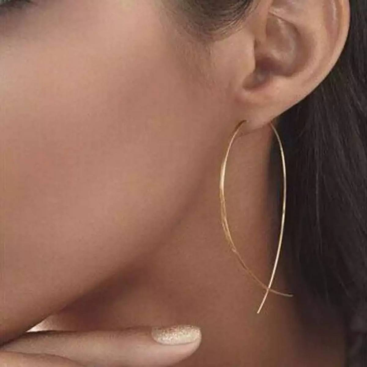 Tara's Collection Simple Long Wire Fish Fine Earrings In Golden And Silver Color For Women