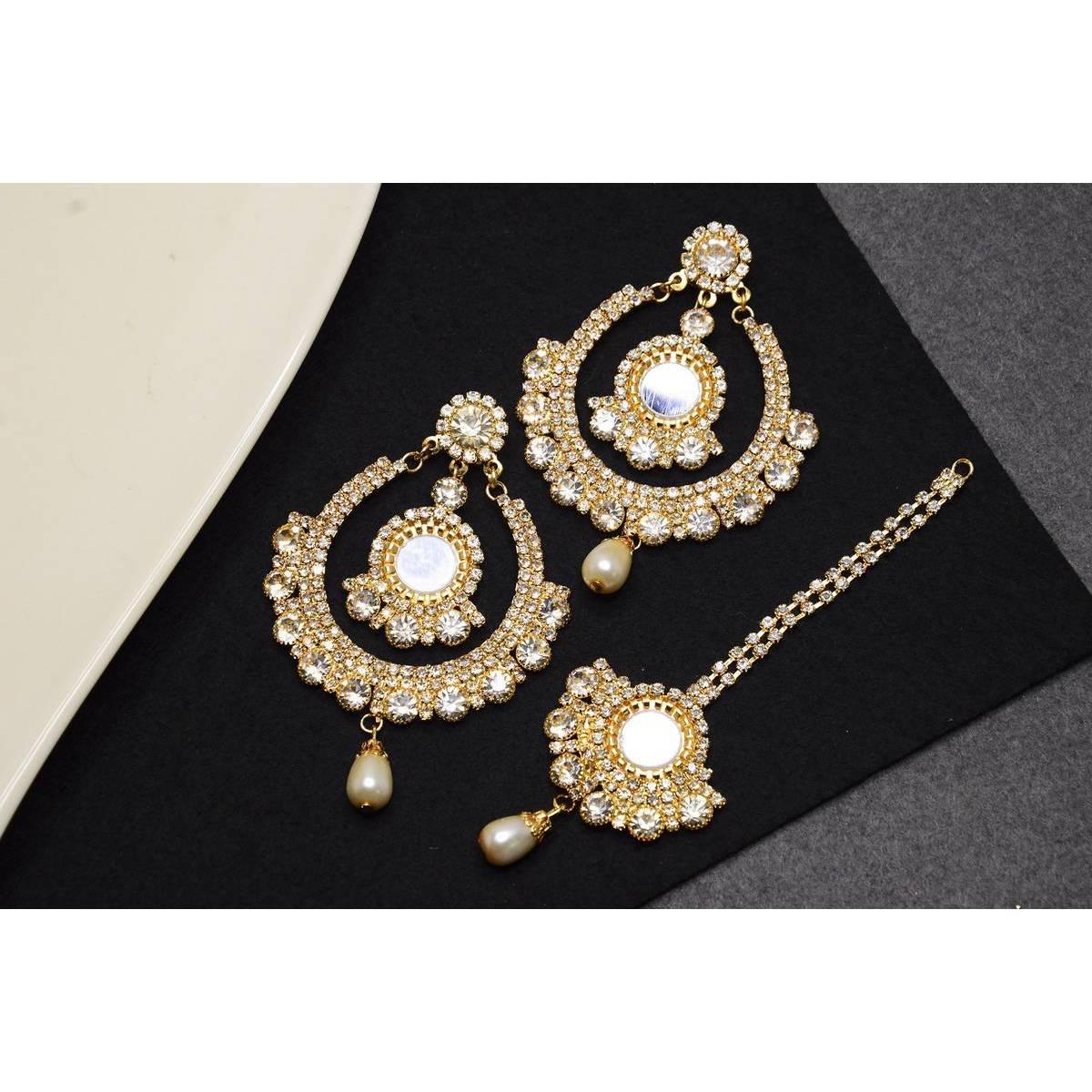 Golden Jewellery Set with Earings and Bindia/ Teeka for Girls, Women and Ladies