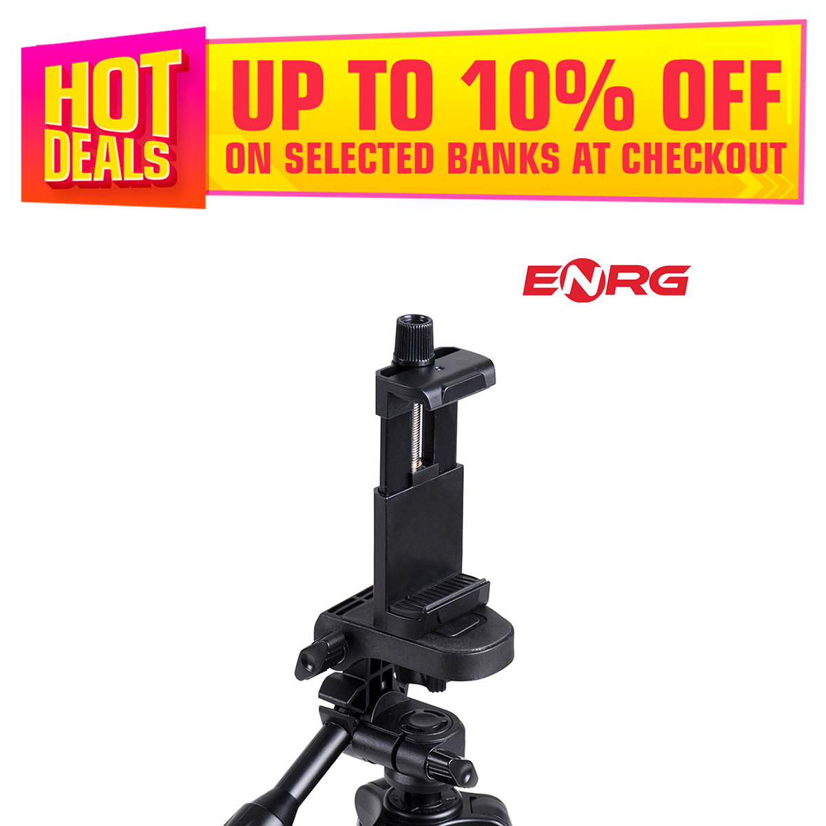 ENRG Multi function Clip Mobile Phone Holder With Tripod Mount Adapter With Adjustable Screw Tripod Holder For Phone - High Quality