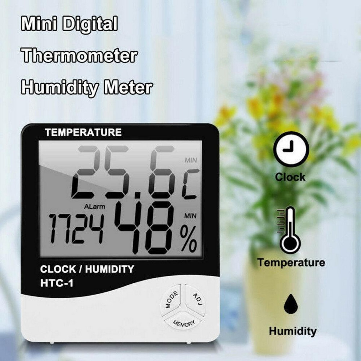 HTC-1 Or HTC-2  Electronic Temperature Humidity Meter, For Medical Indoor Room LCD Digital Thermometer Hygrometer Weather Station Alarm Clock