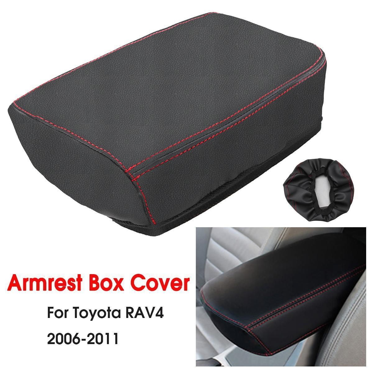 Car Console Armrest Box Cover DIY Leather Protection Pad for Toyota RAV4  2006 2007 2008 2009 2010 2011 2012 2013 2014 #Black