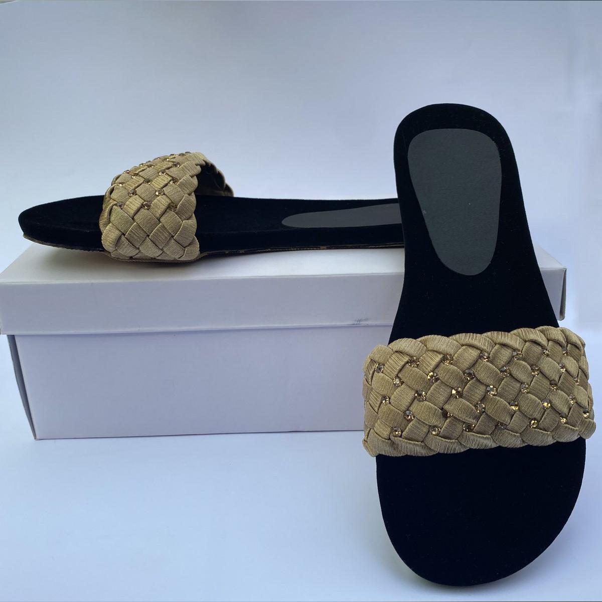 Casual Slipper for Women Golden Color Black | Chappal | Sandal |