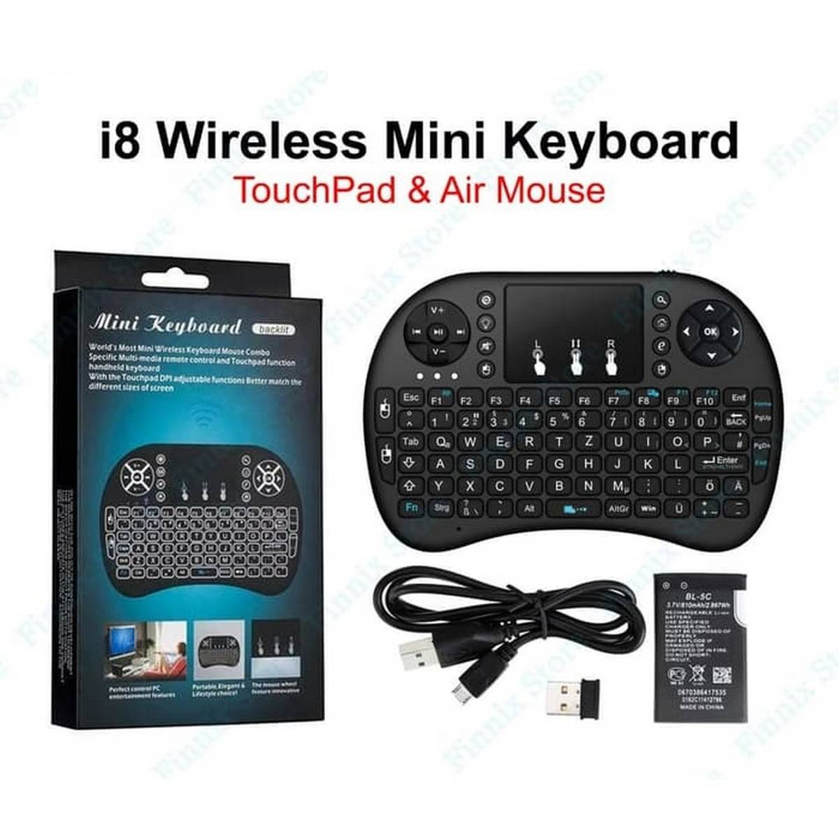 RF500 2.4GHz Mini Wireless QWERTY Keyboard RF-500 with Backlight For Desktop / Laptop Dual Mouse USB Receiver Plug and Play 4 Languages - Black
