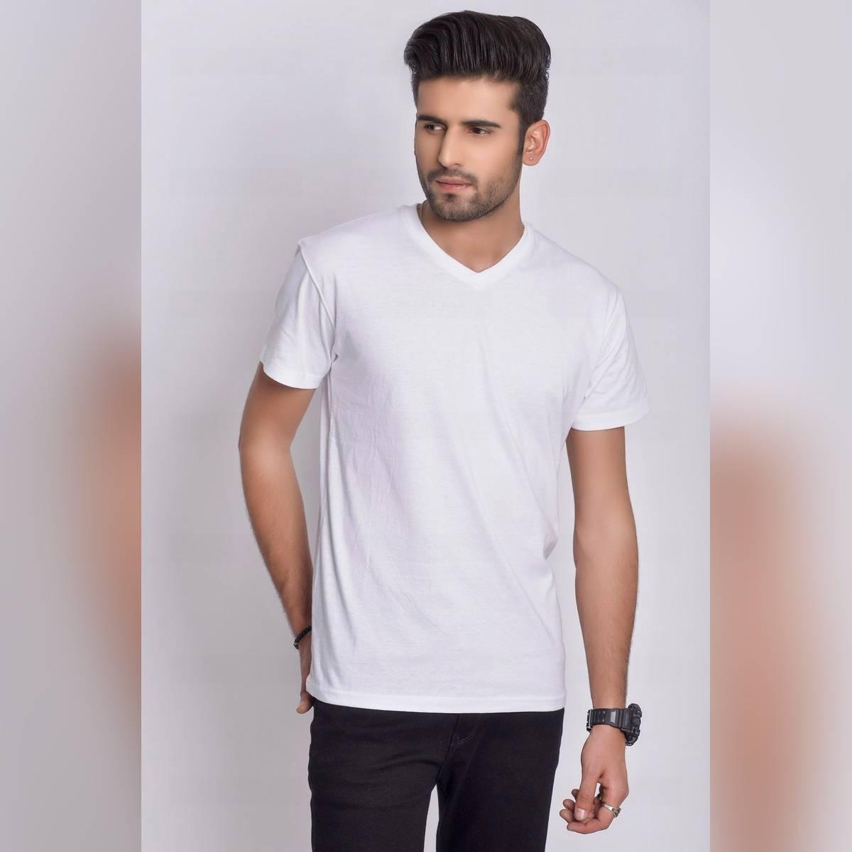 Men's Summers V Neck White T-Shirt