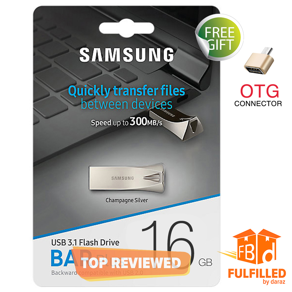 Samsung 16/32/64 GB BAR Metal High Speed 3.0 Flash Memory Stick USB Drive + FREE OTG adapter - 6 Months WARRANTY
