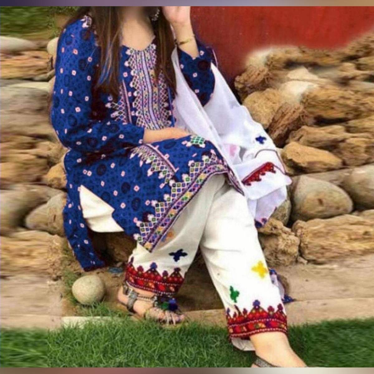 Sindhi Ajrak Embroidery Lawn3 piece Suit with Chiffon dupatta