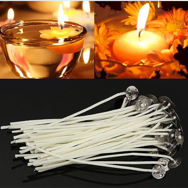 50 x 140mm-14cm Pre Waxed  Wicks For candle making with sustainers.