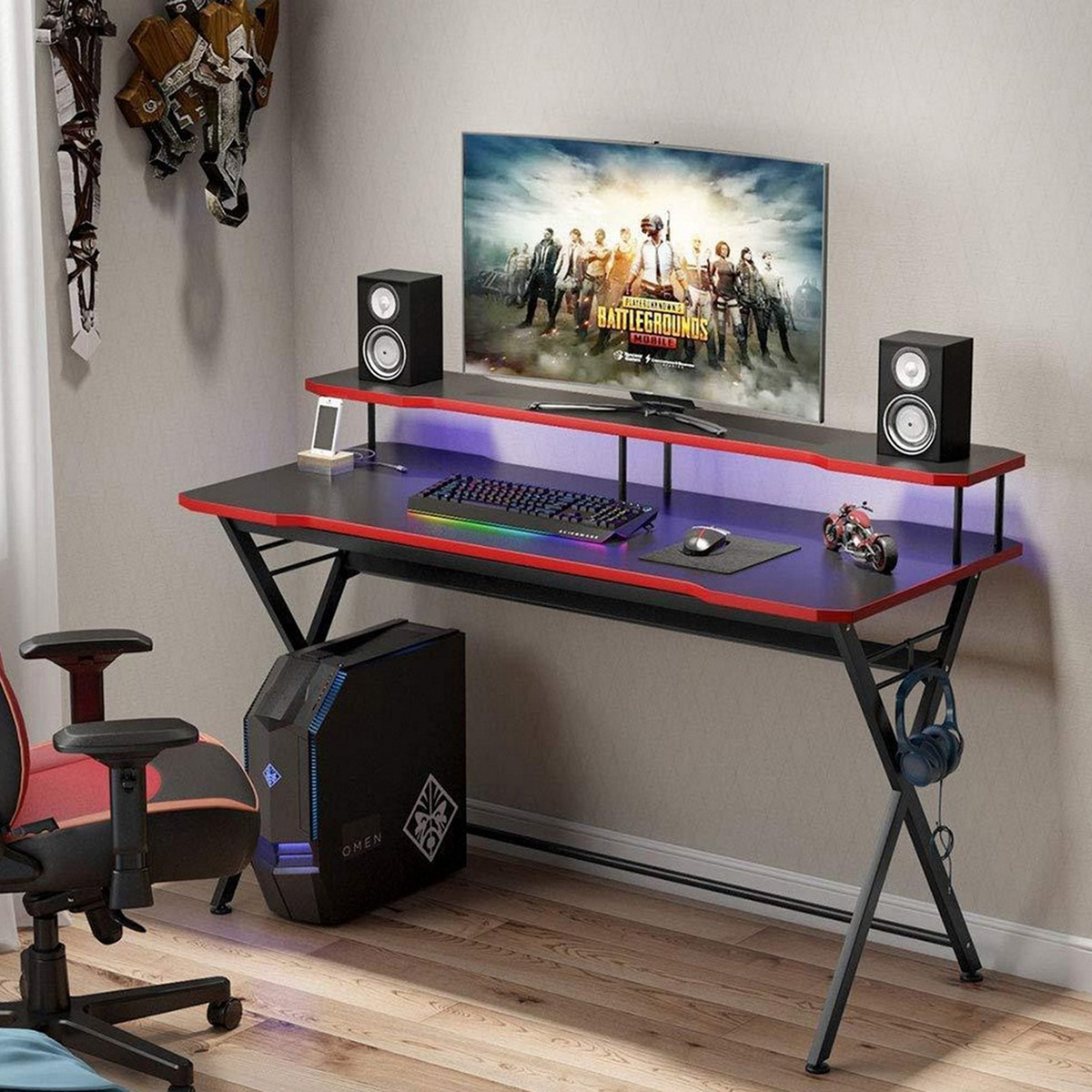 58 inch Large Gaming Desk Ergonomic PC Gaming Table Gamer Computer Desk with Monitor Stand and Headphone Holder