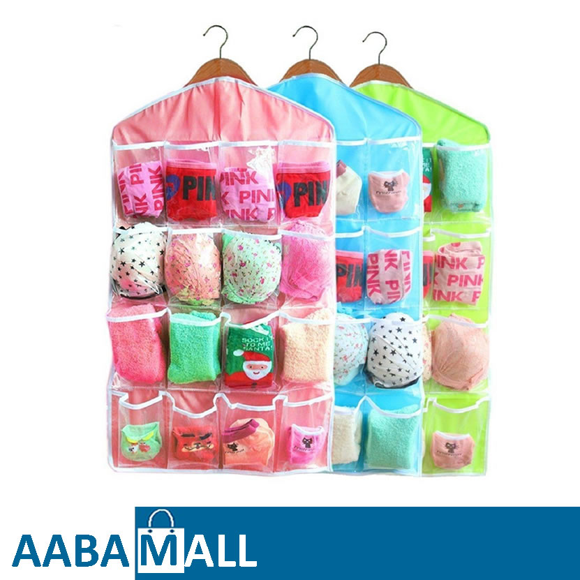 Sweet Candy Color Wardrobe Wall Mounted 16 Grid Storage Bag For Clothing Socks Pants And Stuffed Plush Toys by AABA MALL