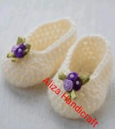 Multi Strips Woolen Handmade Crochet Baby Winter boots