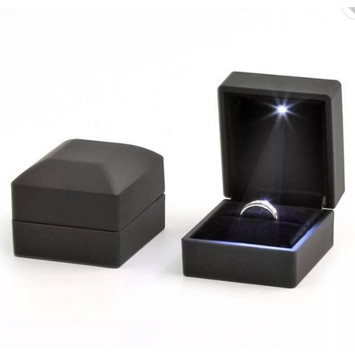BAJWAH'S, Diamond Ring Box White LED Light Velvet Jewelry Gift Wedding Proposal Engagement