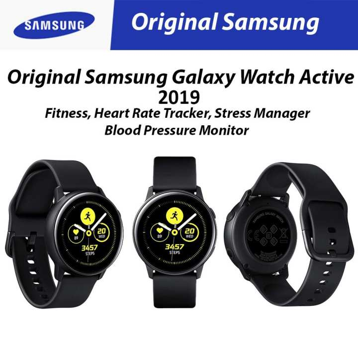 Original Samsung Galaxy Watch Active (2019) Black Fitness, Blood Pressure Monitor, Heart Rate Tracker/ Stress Manager