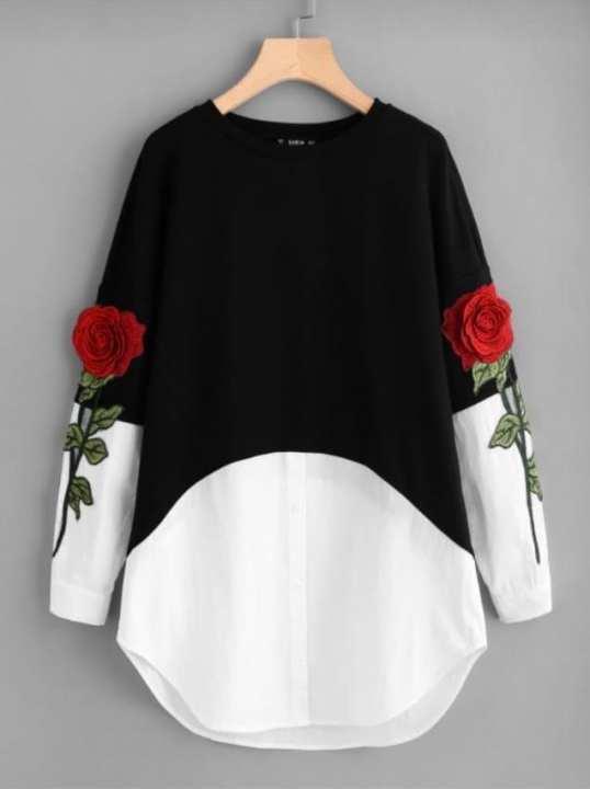 Black & White 3D Embroidery Flower Kurti