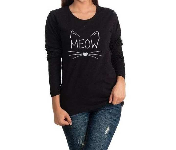 """Cute caty face """"MEOW"""" printed tshirt with round neck full sleeve for girl"""