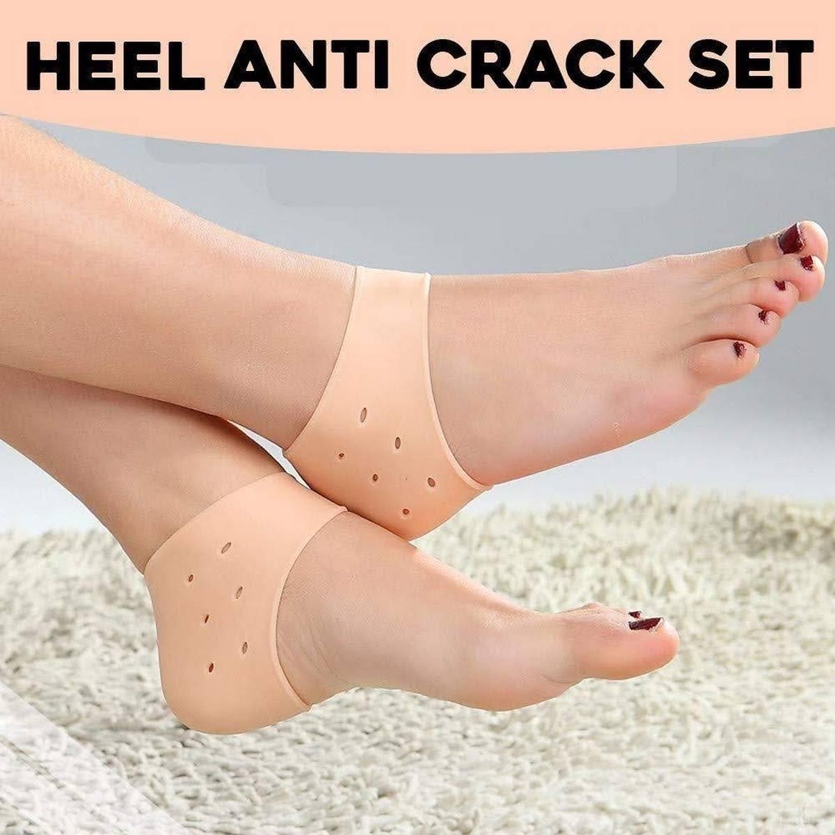 Anti Heel Crack Pads Heel Protectors Set for Pain Relief, Silicone Half Heel Anti Crack Covers For Girls / Women Lowest Price in Pakistan