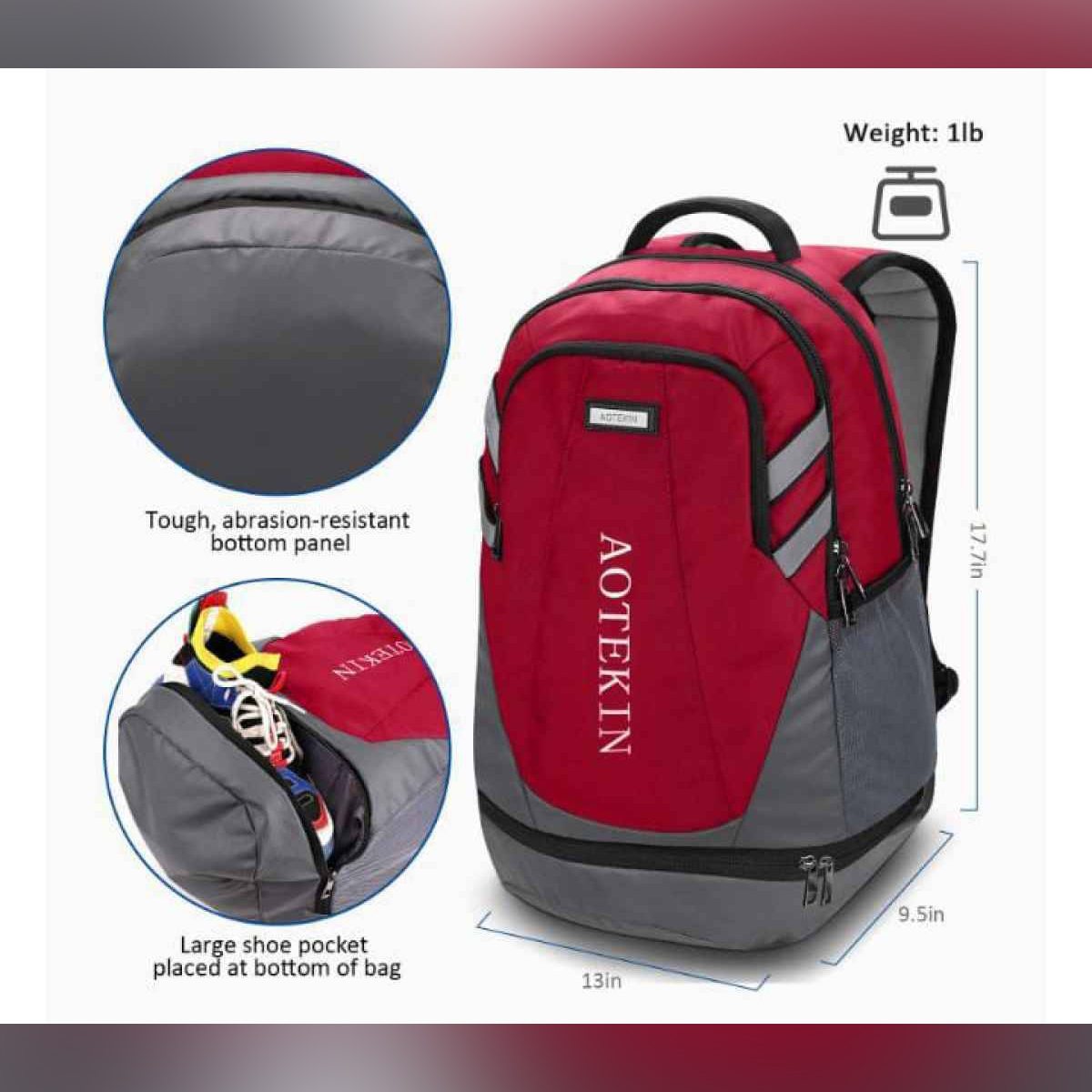 """Outdoor Sports Backpack Lightweight Water Resistant Shoe Compartment, Travel Hiking & Gym Rucksack Bag Anti Theft, Casual Large College School Daypack, Laptop Backpack Fits 15"""" Notebook & Computer"""