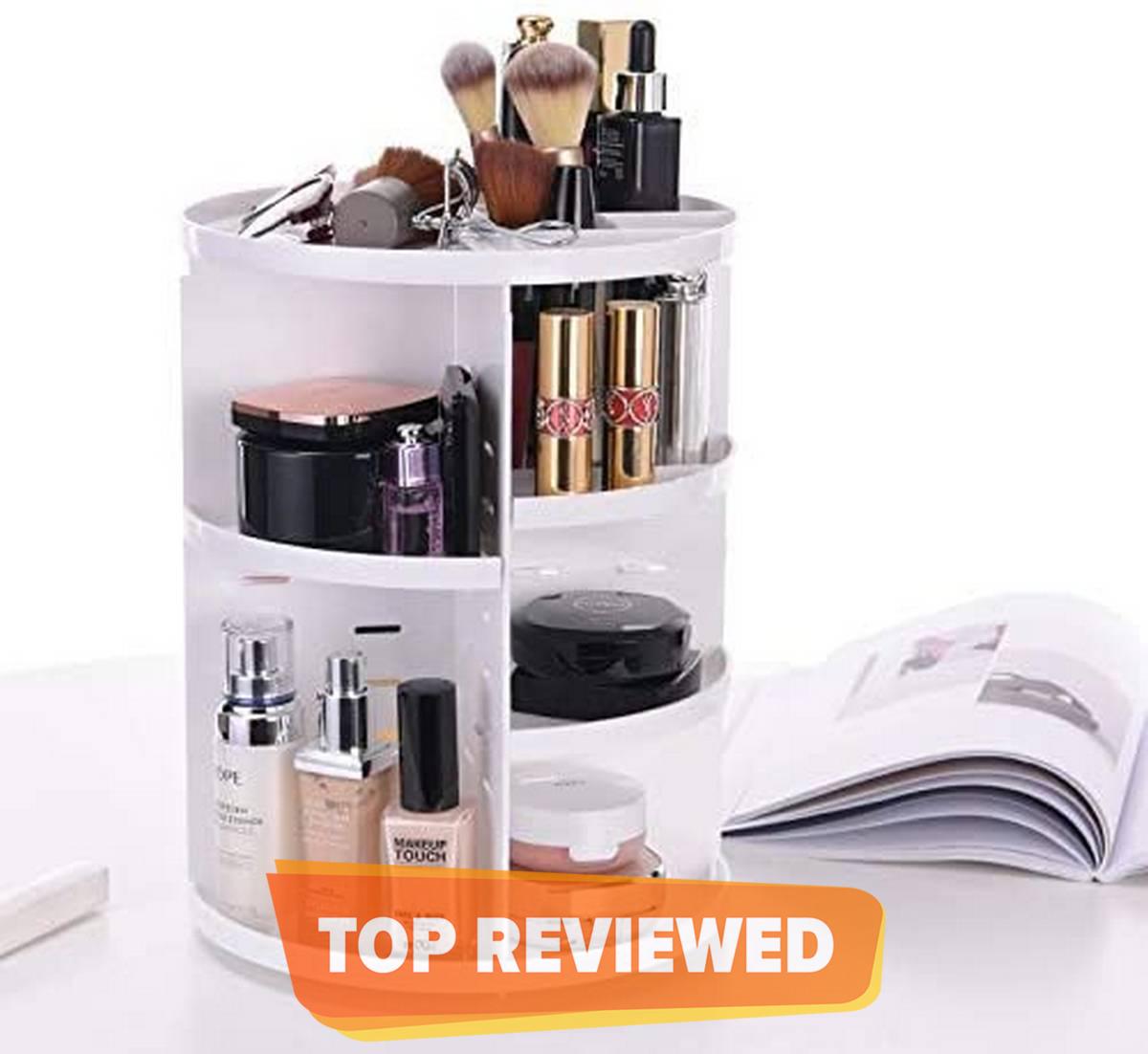360 Rotating Makeup Organizer, DIY Adjustable Makeup Carousel Spinning Holder Storage Rack, Large Capacity Make up Caddy Shelf Cosmetics Organizer Box, Great for Countertop