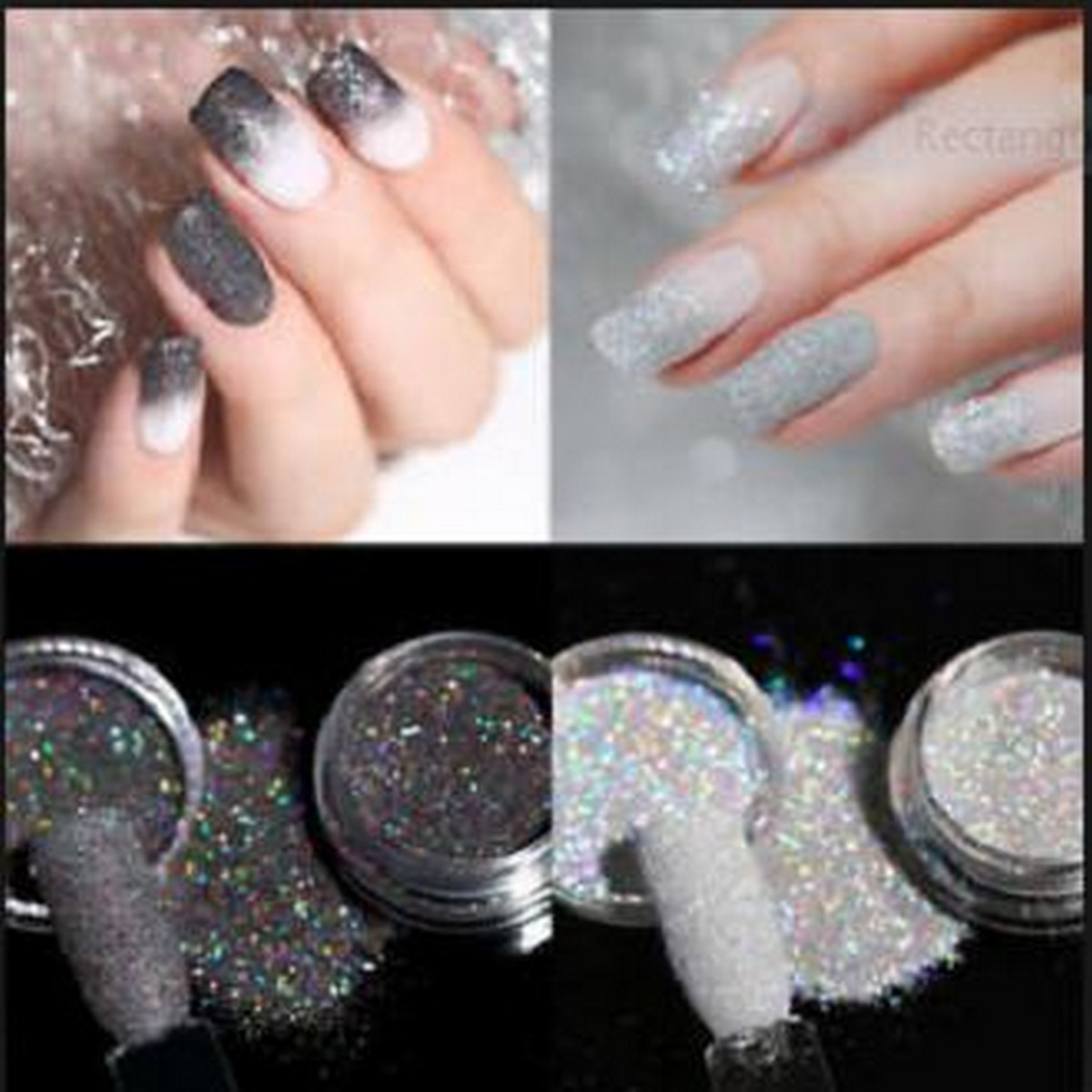 2 Boxes Holographic Glitter Powder Dust Nail Art white Gray and Holo Laser Manicure white and silver