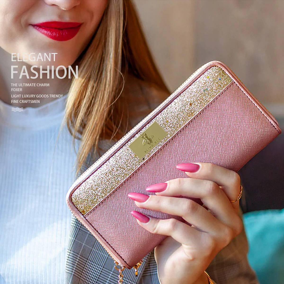 Bling Bee Glitter Long Wallets for Women Ladies and Girls with Tussle and Wristlet Luxury Female Purse Lady Clutch Cellphone Bag Fit iPhone 8 Plus and Mobile Case for all Mobile Phones