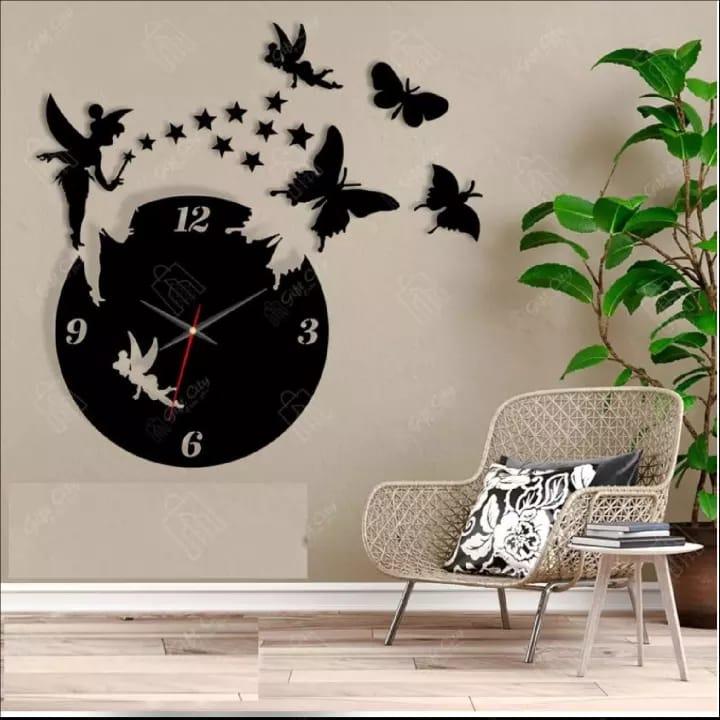 Fairy Wooden Wall Clock 3D Laser Cut Wall Clock Girls Room Office Room Living Room Wall Clock In Modern Fairy With Stars & Butterflies,