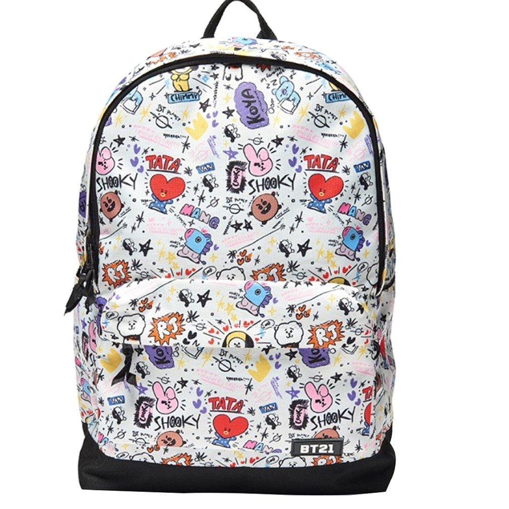 91a7198ba47b BT21 BTS Bangtan Boys Backpack Cosplay Prop CartoonPrinted School Bag
