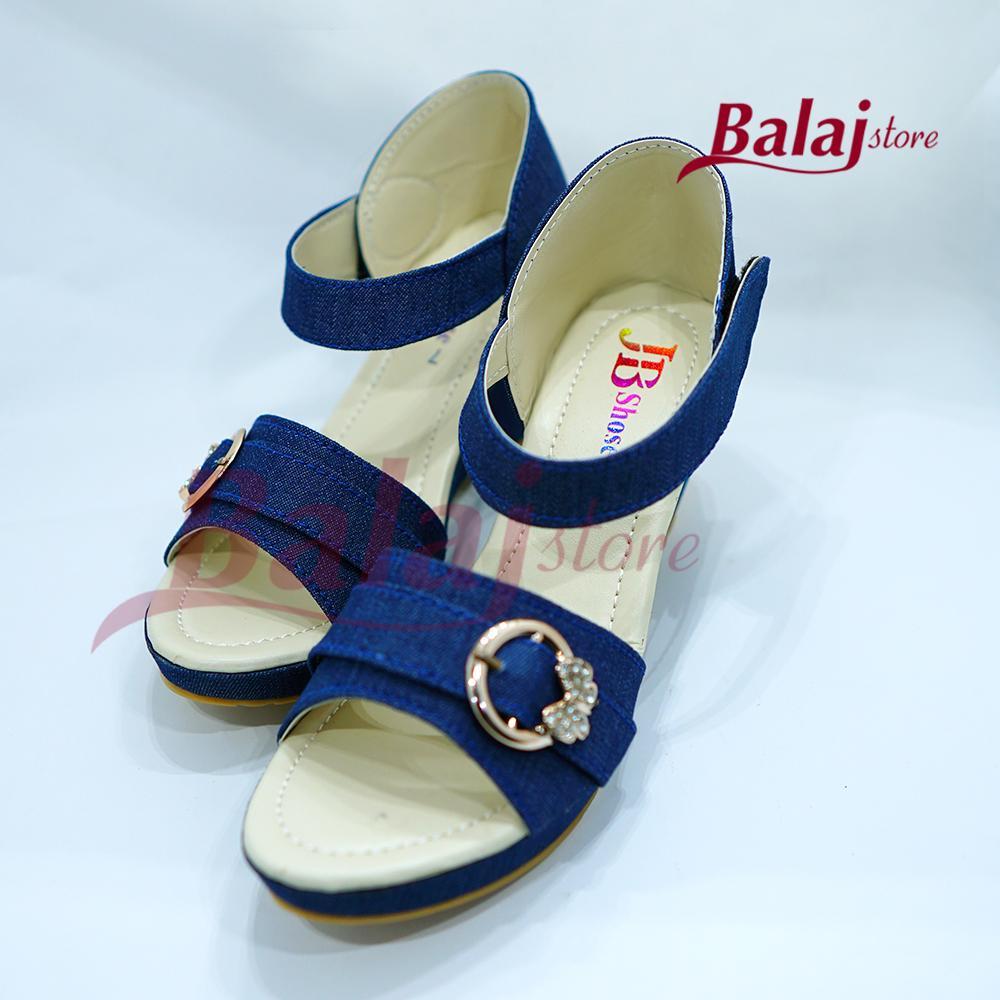 96e157ee637df Balajstore - Navy Blue Jeans Block Heels (NA513)