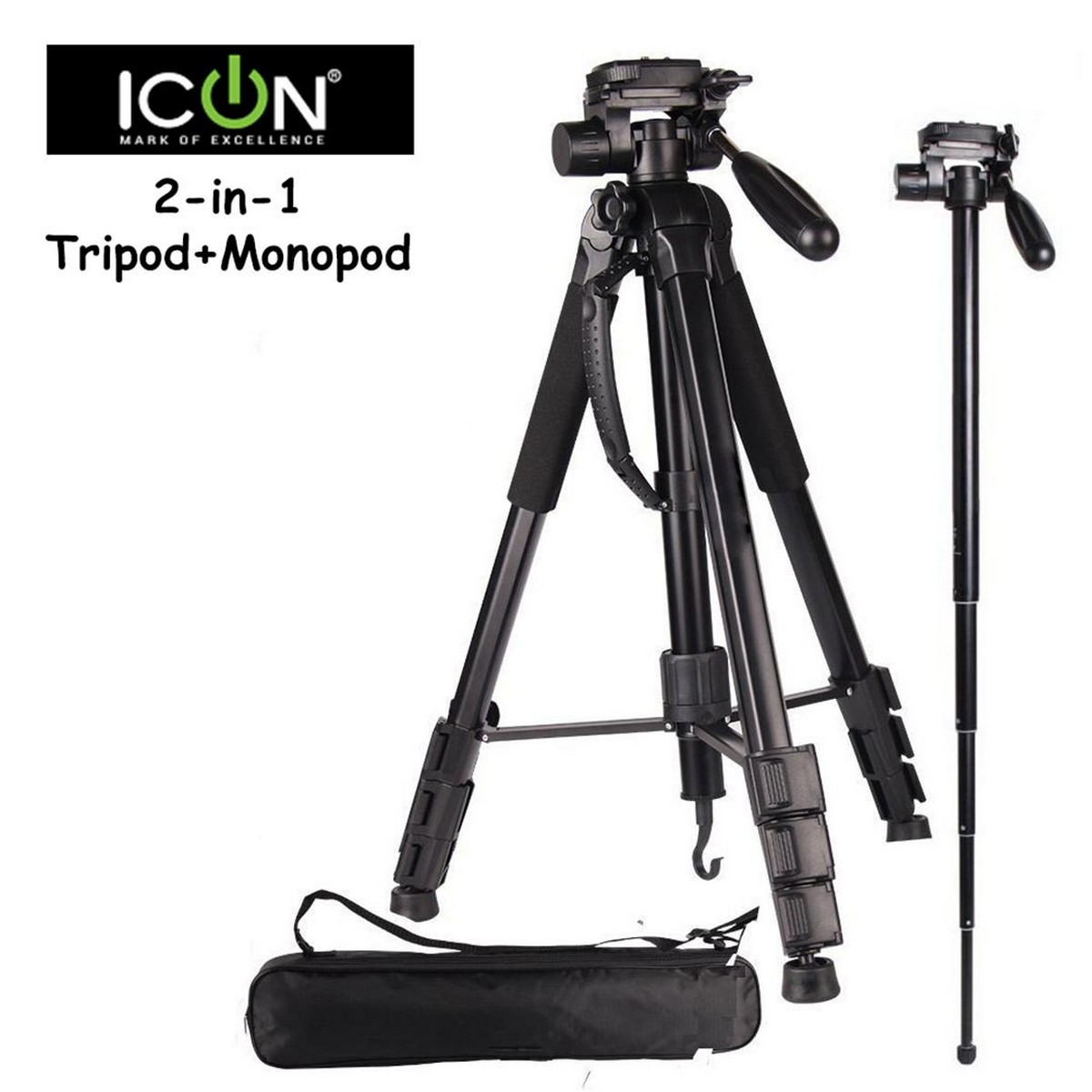 ICON 7863 2-in-1 Tripod + Monopod Compact Professional Tripod (70 Inch Adjustable Height) for DSLR Camera, Digital Cameras, and Camcorder