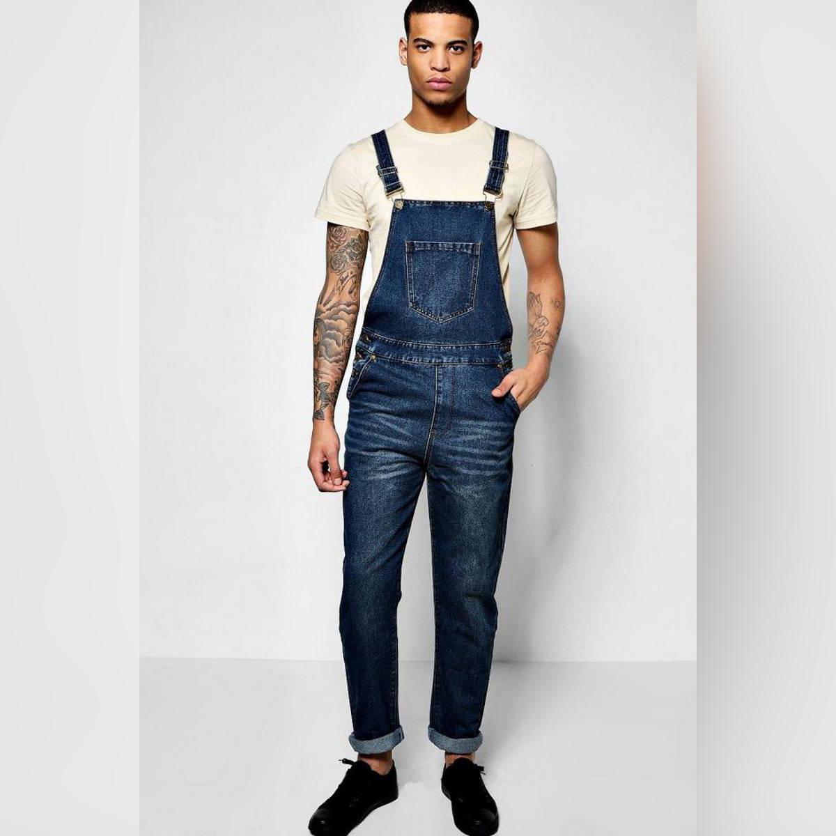 Deep blue Overall denim jumpsuit with adjustable straps for men MR-003