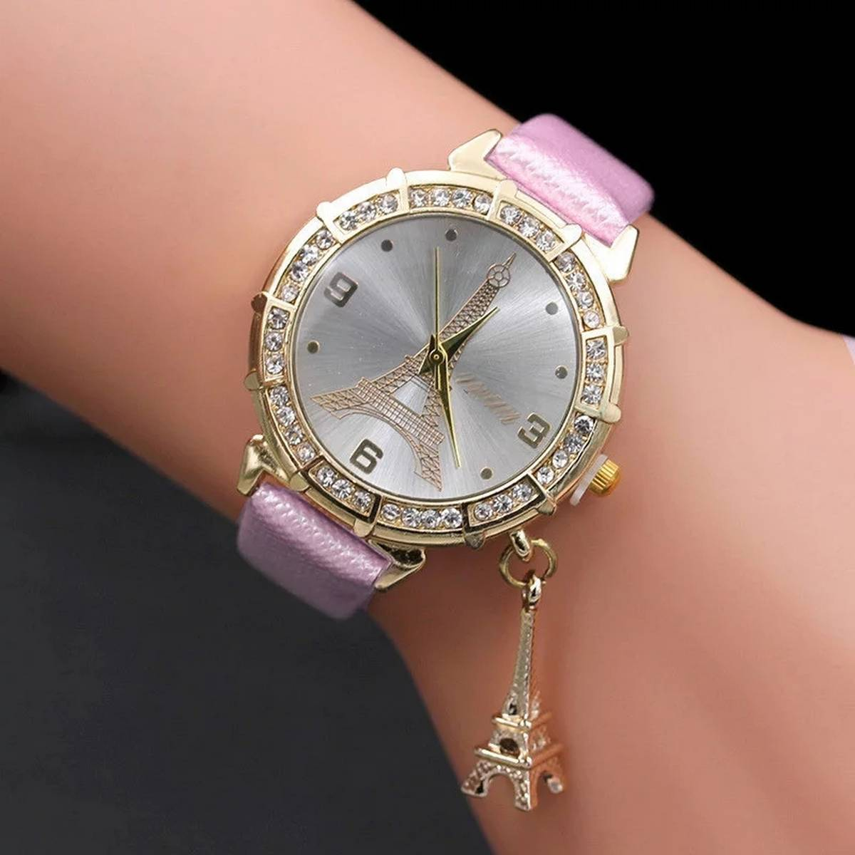 Casual Wrist Watch Ladies Leather Women Romantic Tower Perfect Girls Gift