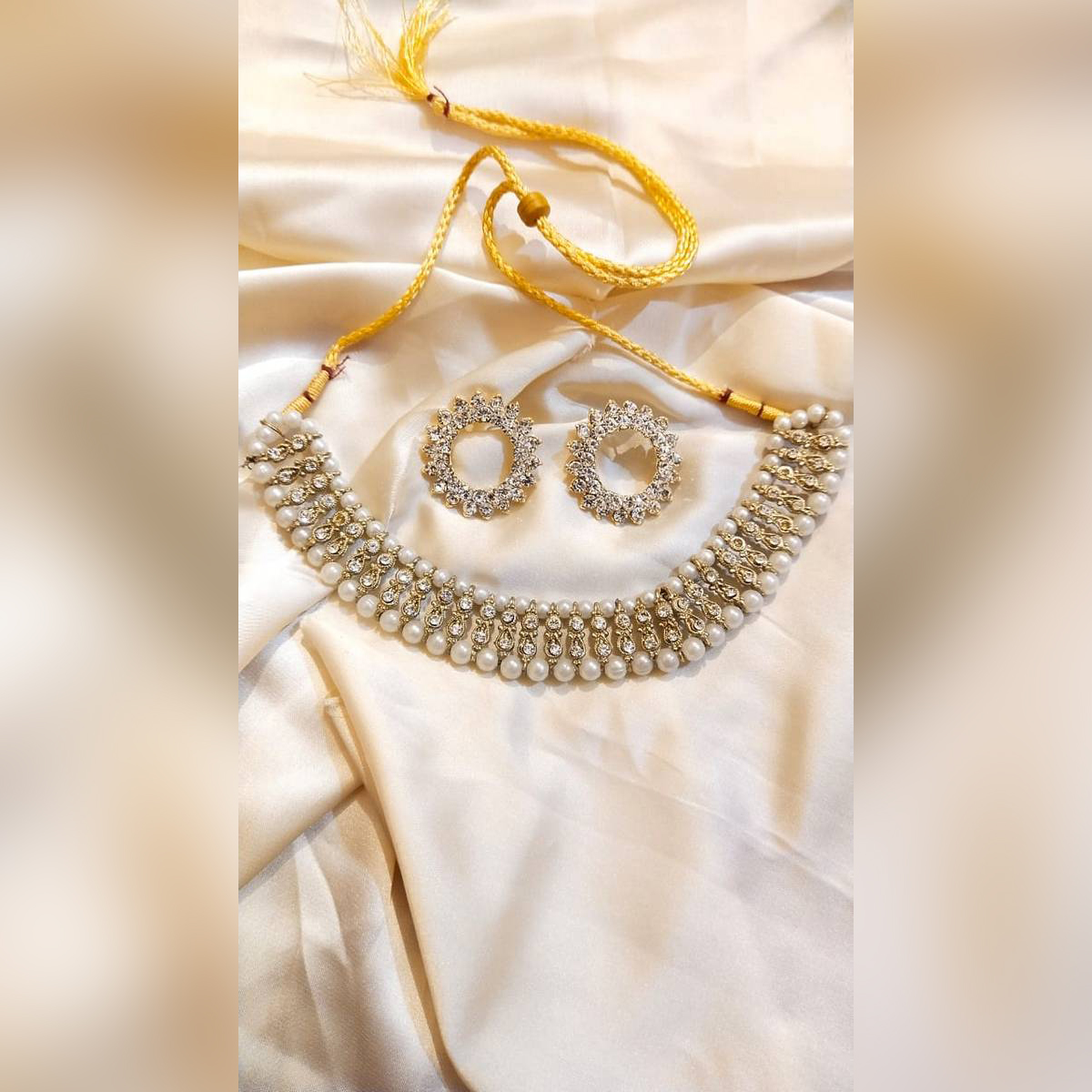 Antique Style White Stone With Pearl Necklace With White Stone Earrings-Box Free