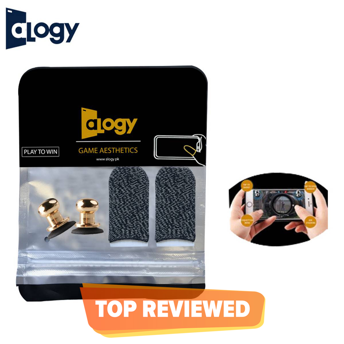 ALOGY - Pack of 2 PUBG Metal Joystick Trigger  with Anti-Sweat Thumb Gloves for Mobile Gaming Controller Fire Buttons L1 R1 for Gamers X13+Gloves