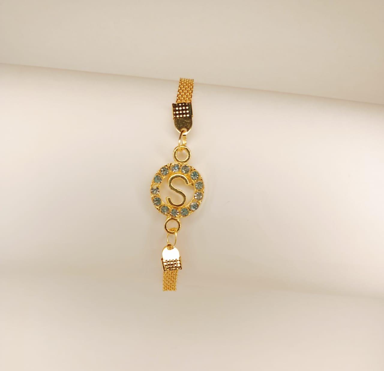Classy Gold Round S Design Zircon Bracelet For Girls, Women