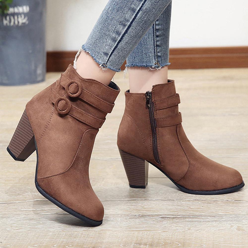 Women Belt Buckle Short Knight Thick Heel Ankle Boots