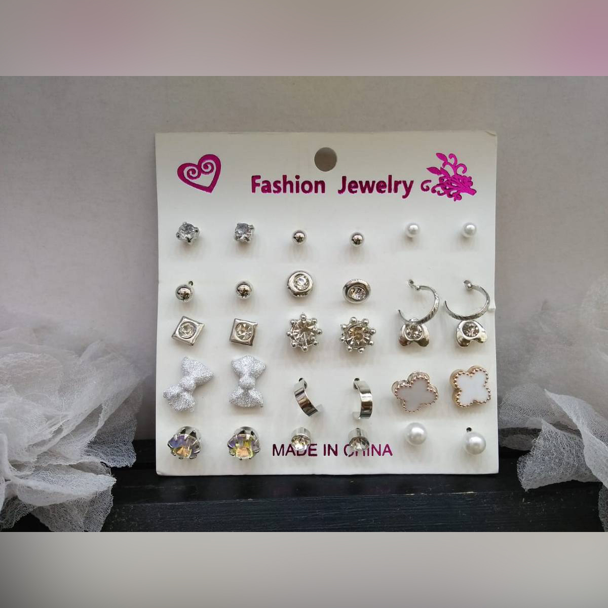 Earrings set of 15 pairs for girls fashion ear rings tops studs