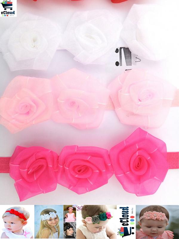 Pack of 3 - Baby Headband Rose Flowers For Kids Girls Photoshoot