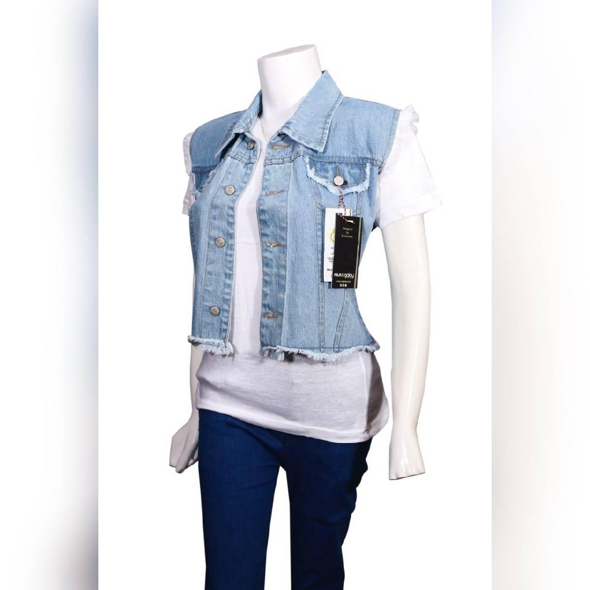 women jeans jacket sleeveless