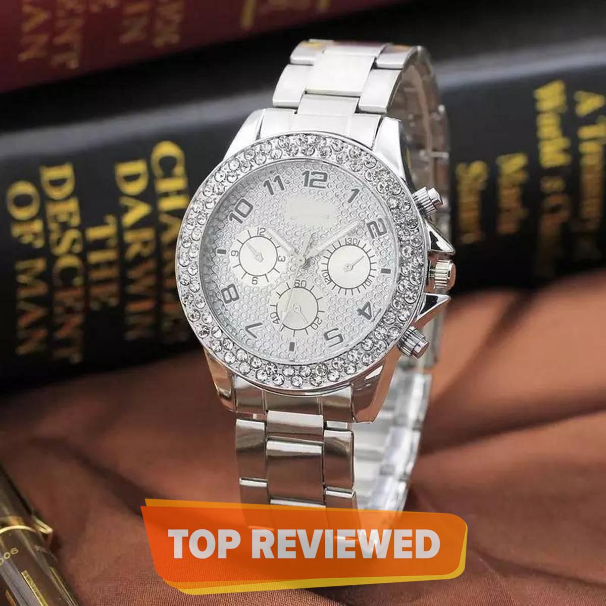 Faux Chronograph Quartz Classic Women Crystals Watch