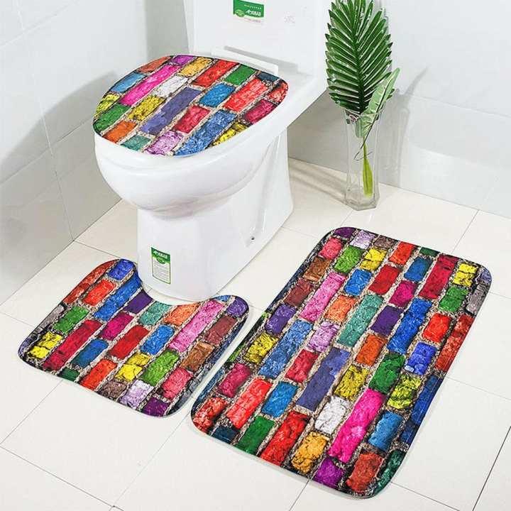 Poplikdfr 3PCS Bathroom Non-Slip Pedestal Rug Lid Toilet Cover Bath Mat Set