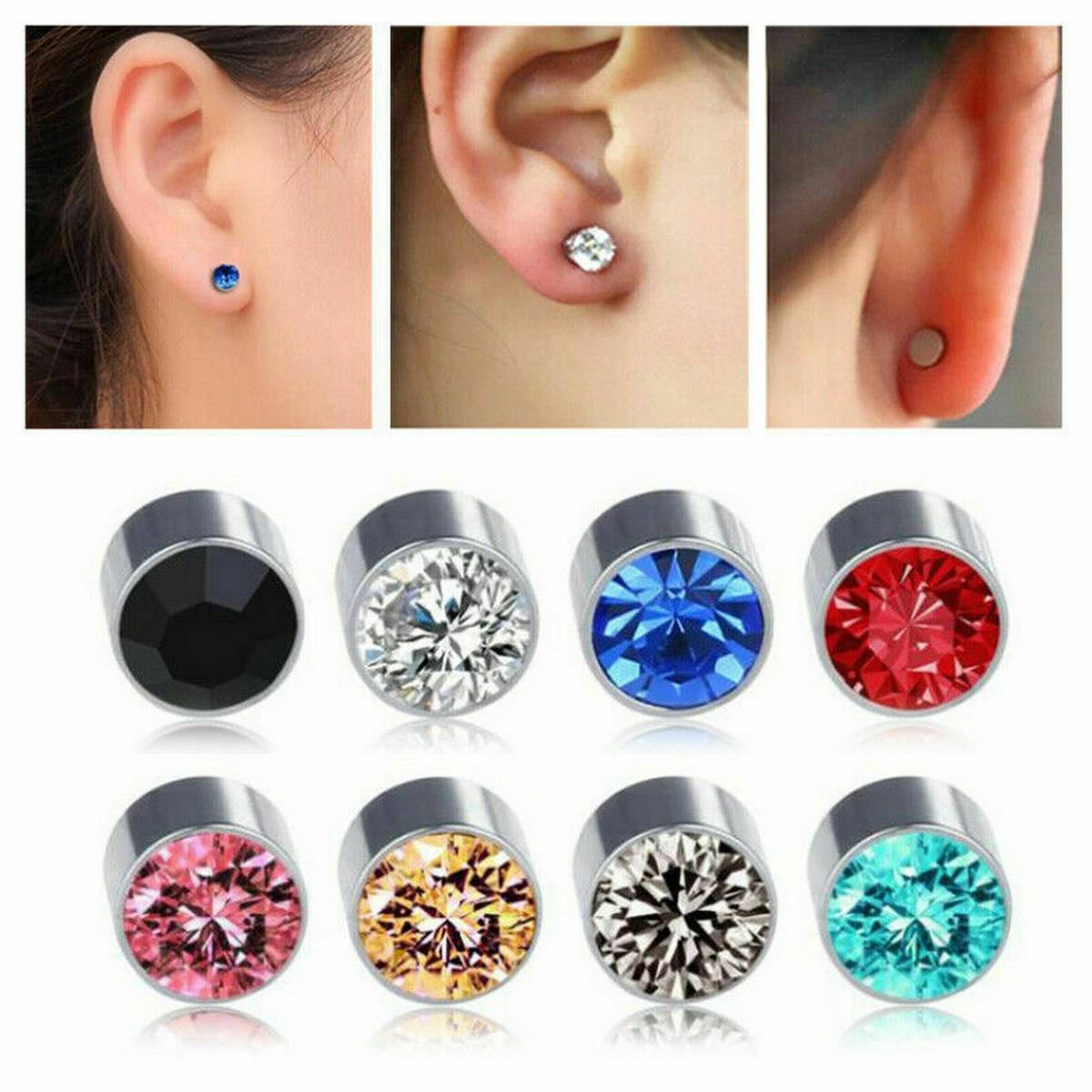 Fashion Jewellery 3 Pair Non Piercing Magnetic Stud Earring For Women