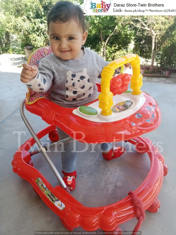 Baby Walker With Heavy Plastic Made Both Side MS Lock Including Front U Shape Toys Hanger with Lights Music (Product Will Be dispatch 100 % Same)