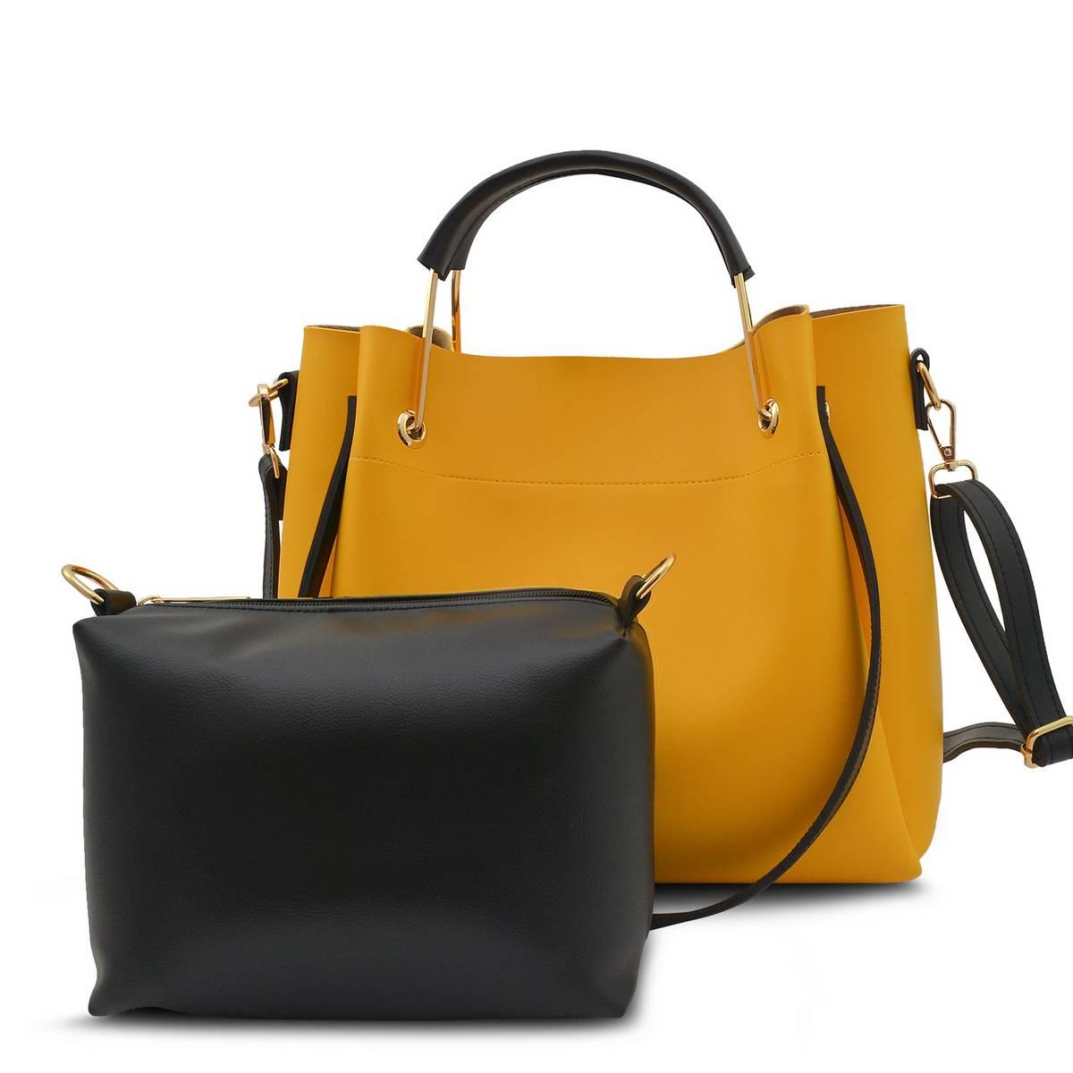 Astore Yellow Stitched Adjustable Long Strap Emerald Faux Vegan Leather Handbags and Shoulderbag with Inside Small Pouch/Vanity Bag