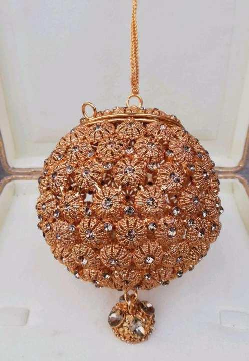 Bridal Jewellery Pouch Clutch - Gold Polish