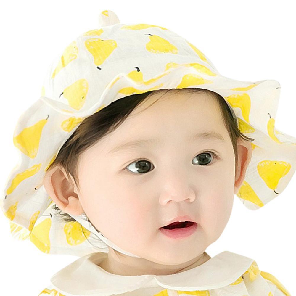 Cute Infant Kids Fruit Print Pattern Bucket Hats Sun Helme Bucket Cap Sunhat 3bd3c7d28094