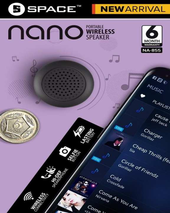 Bluetooth Wireless Speaker SPACE NANO NA-855 Portable  With Selfi Button