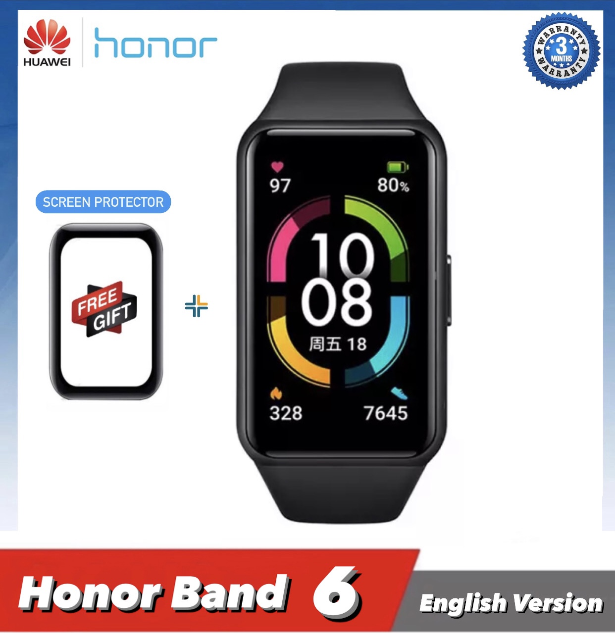 """Huawei Honor Band 6 Smart Fitness and Activity Tracker  SpO2 - 1.47"""" AMOLED Color Touchscreen - 15 Days Battery"""