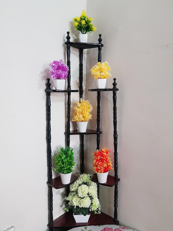 Supreme Quality -Hot Sale Best Design Decorative Rack 7 Tier Wood Corner Shelf for Living Room